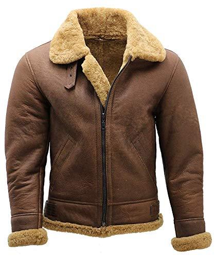 Men's B3 Bomber RAF Pilot WW2 Aviator Flying Faux Shearling Brown Sheepskin Leather Jacket (XL)
