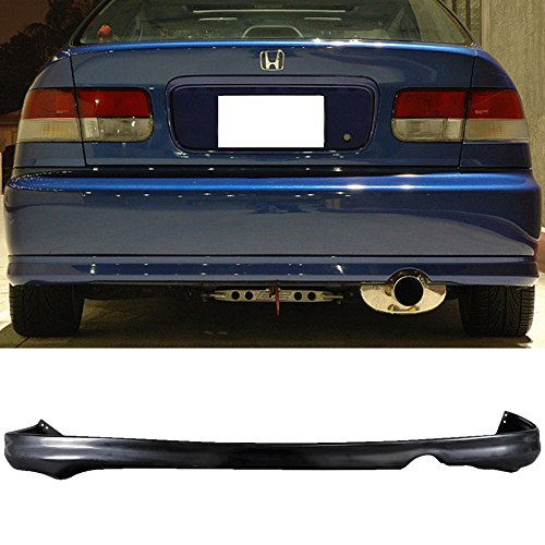 Honda Fit Bumper - Rear Bumper Lip Fits 1999-2000 Honda Civic | T-R Style PU Black by IKON MOTORSPORTS