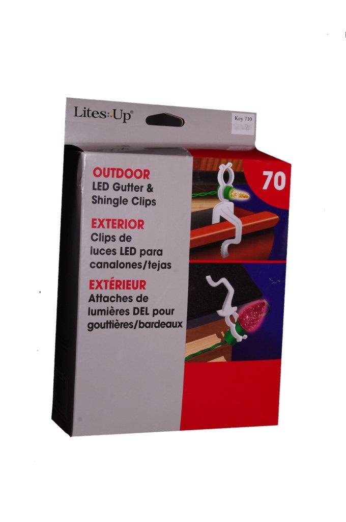LED Shingle & Gutter Outdoor Christmas Light Clips Hooks 70 Pack