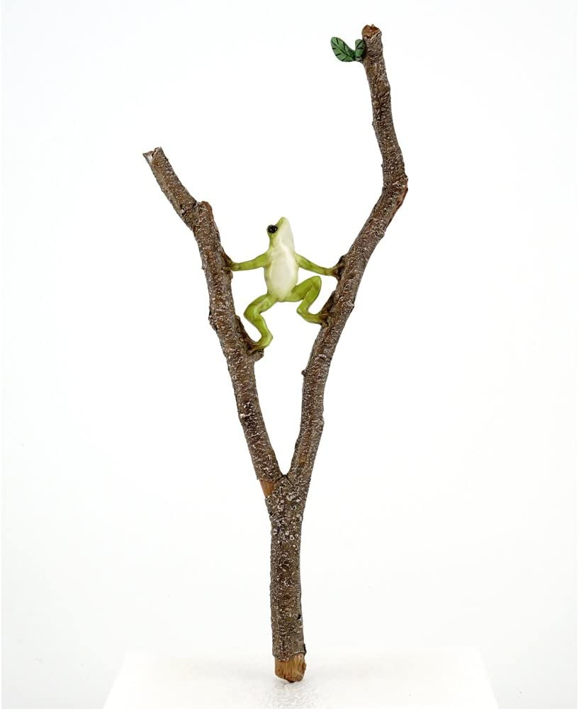 Top Collection 4398 Miniature Fairy Garden Frog Climbing Branch & Planter Stake Decor, Small