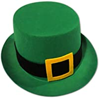 St. Patrick's Day Leprechaun Green Top Hat with Felt Buckle - Holiday Costume Hat for Dress Up or Party