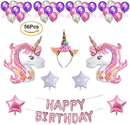 Nvetls 56Pcs Decoración Cumpleaños Unicornio Decoración Fiesta Cumpleaños Niños con Globos y Diadema Unicornio (Rosa)