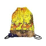 InterestPrint Africa Retro Vintage Style Man on Camel Gym Drawstring Backpack Sport Bag Waterproof Polyester for Men & Women School Travel Backpack