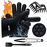 Housmile BBQ Gloves Heat Resistant Rubber Black Cooking Gloves Silicone Grilling Glove for Kitchen Pizza Cooking, Meat Shredding Claws Silicone Brush Super Value of Four Barbecue Accessories