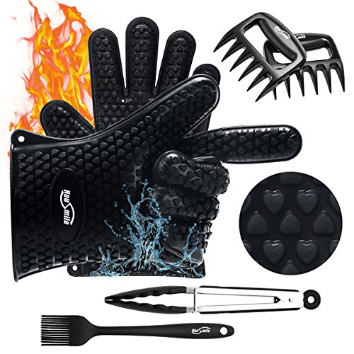 Housmile Silicone BBQ Gloves Versatile Heat Resistant Glove Meat Claw Silicone Brush & Stainless Steel Cooking Tongs , Super Value of Four Barbecue Accessories(4x No.1 Set)