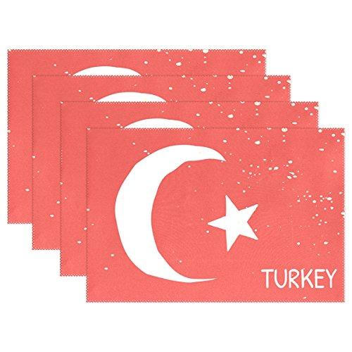 super3Dprinted Distressed Turkey Flag Placemat Table Mat, 12
