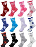 BambooMN Brand - Extra Large Super Soft Warm Cozy Fuzzy Snowflake Socks - Assortment 12A, 12 prs