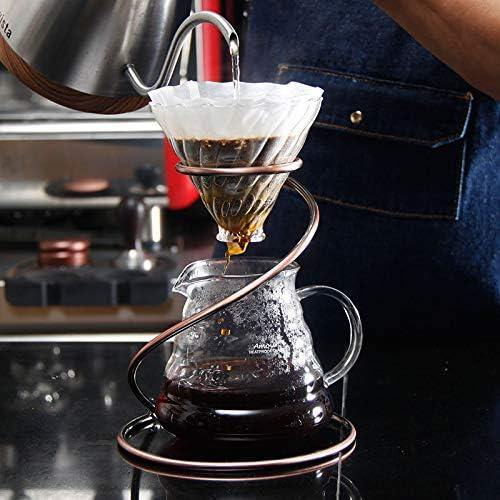 DW007 Kaffee Handschlag Filterbecherhalter Schlangenförmiger Filterbecherhalter Kaffeegerät Handgebrühter Kaffee Outfit Ausstellungsstand 15.5X19x8.5Cm,Gold