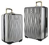 Joy Mangano Hardside Medium Luggage (Carry-on) and Xl Luggage Combo, Platinum