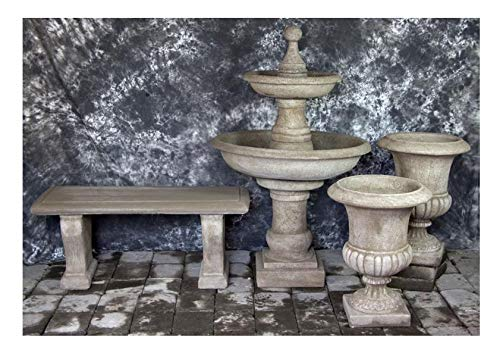 Fleur de Lis Garden Ornaments LLC Ravello Two Tier Fountain with Italian Palazzo Urns and Bench Package Number 1026 ()