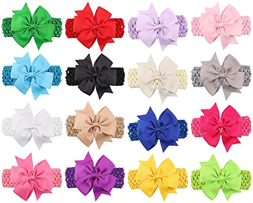"Baby Headbands Turban Knotted, Girl's Hairbands for Newborn,Toddler and Childrens (4"" Bow 16-Pack)"