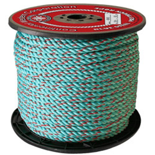 CWC BLUE STEEL Rope - 3/8'' x 2500 ft., Teal W/Red Tracer