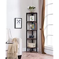 eHomeProducts Reclaimed Weathered Oak Finish Black Metal Wall Corner 5-Tier Bookshelf Bookcase Accent Display Shelf