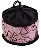 Doggles Foldable Travel Bowl, Pink Hearts – Large, My Pet Supplies