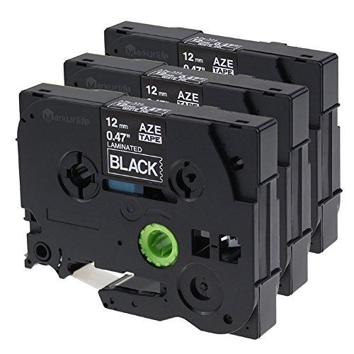 "Markurlife 3 Pack TZe-335 TZe335 TZ-335 TZ335 Label Tape White on Black Compatible for Brother P-touch PT-2030 PT-2030AD PT-200 PT-1010, 1/2"" 26.2ft (12mm x 8m) tze-335"