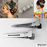 Adorox 80 pieces 1.75 inches Single Prong Metal Alligator Hair clips
