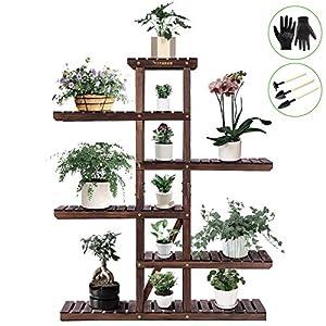 VIVOSUN Wood Plant Stand Indoor Outdoor Multi Layer Flower Pots Shelf Plants Holder
