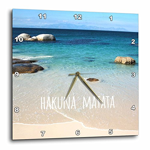 (3dRose DPP_151417_2 Hakuna Matata Swahili African for No Worries on Beautiful Beach Carefree Calm Ocean Sea Photo Wall Clock, 13 by 13-Inch)