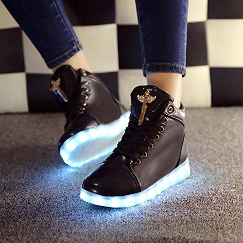 Jin Fashion 8 Färger Ledde Skor Höga Bästa Växande Skor För Kvinnor Lysande Ljus Upp Gymnastiksko Skor Svart B