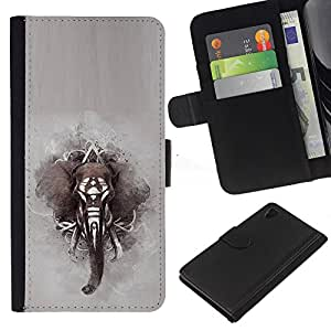 África pintura india Gris- la tarjeta de Crédito Slots PU Funda de cuero Monedero caso cubierta de piel Para Sony Xperia Z3 Plus / Z3+ / Sony E6553 (Not Z3)