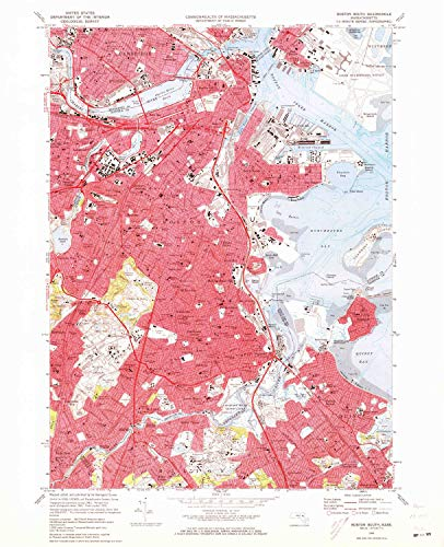 YellowMaps Boston South MA topo map, 1:24000 Scale, 7.5 X 7.5 Minute, Historical, 1970, Updated 1973, 27 x 21.9 in - Polypropylene