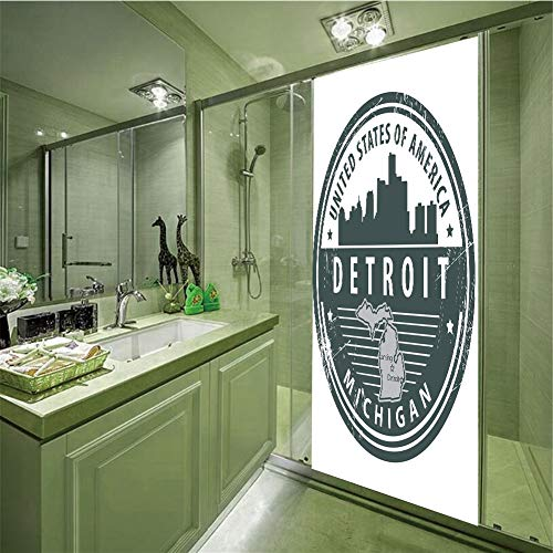 Decorative Privacy Glass Film,Detroit Decor,Damaged Old Stamp of Michigan USA with City Map Location Tourism Icon Decorative,Black White Grey,35.43