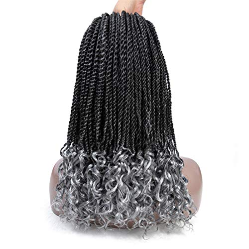 18 Inch Senegalese Twist Crochet Hair Wave Curly, 6Packs 30Roots Long Goddess Crochet Senegalese Hair Curly Ends for Black Woman Ombre Kanekalon Synthetic Crochet Twist (T1B/Grey) ()