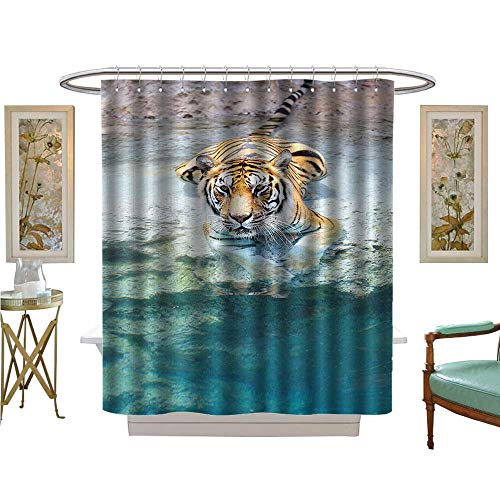 Leigh R. Avans Shower Curtains Fabric Tiger Lying Near The Water Wild Life Cave Relax Clear Wat Bathroom Decor Set with Hooks (Tie Silk Leigh)