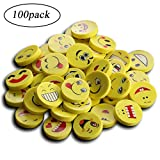 Emoji Pencil Erasers for Kids – 100 Pack, Obeka Cute Fun Random Round Emoticon Face Erasers for School Classroom Prizes, Party Favors – Child Safe BPA Free Gifts