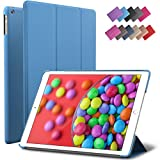 iPad Air Case, ROARTZ Blue Slim Fit Smart Rubber Coated Folio Case Hard Shell Cover Light-Weight Auto Wake/Sleep For Apple iPad Air 1st generation Model A1474/A1475/A1476 Retina Display