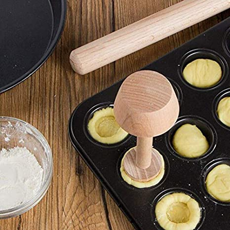RollingBronze Egg Tarts-Tamper Double Side Wooden Pastries Pusher DIY Baking Shaping Kitchen Tool