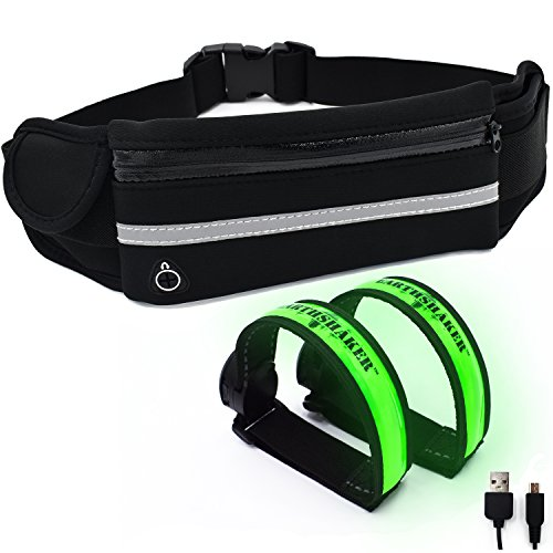 Earthshaker Running Belt with USB Rechargeable LED Safety Lights 2 Packs Armband - Reflective Waist Band - iPhone X 6 7 8 Phone Holder Fanny Pouch - Night Runners Gear/Accessories (Spi Dog)