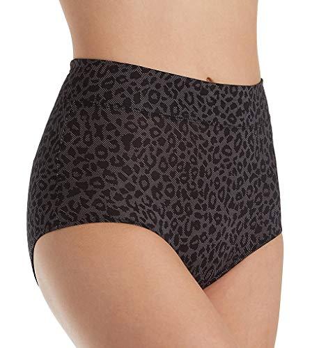 Warner's Women's Plus Size No Pinching No Problems Hi Cut Brief Panty, Digital Animal Rich Black, 08 -
