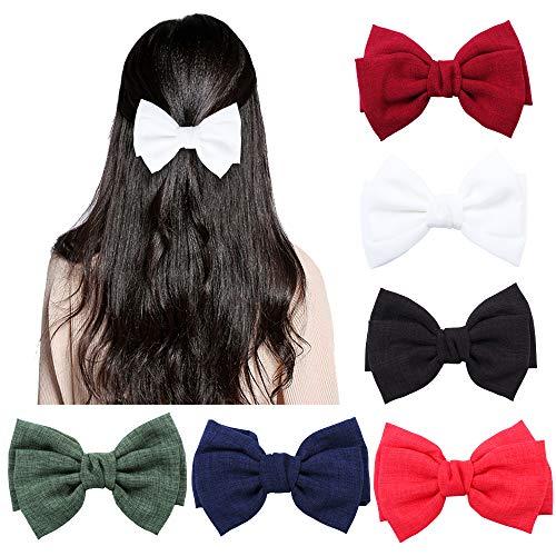 6 Stück große Haarschleifen Clip für Frauen elegante handgemachte Stoff Haarspangen Haarspangen Zubehör (rot, grün, weinrot, dunkelblau, weiß und schwarz)