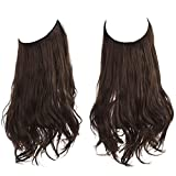 Short Brown Halo Hair Extensions 14Inch 3.6 Oz Curly Synthetic Hairpiece Hidden Wire Headband for Women Heat Resistant Fiber No Clip SARLA(M04&8B)