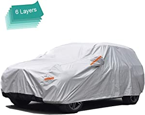 GUNHYI Outdoor Car Covers for Automobiles Waterproof All Weather, 6 Layer Heavy Duty Cover Sun Uv Protection, Universal Fit SUV (Length 191-200inch)