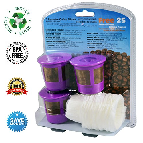 CanFly Reusable K Cup Coffee Filters Compatible With ALL Keurig 1.0 And  Keurig 2.0 Single