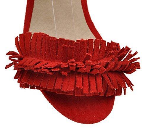 Aisun Donna Alla Moda Con Frange Con Frange Aperte Allacciatura Alla Caviglia Con Laccetti Da Annodare Abito Con Lacci Grandi Sandali Tacco Medio Scarpe Rosse