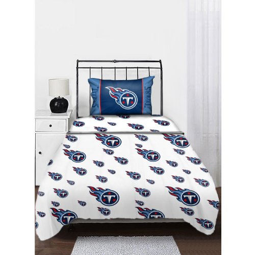 Tennessee Titans TWIN Size Bed Sheet Set - Includes (1 TWIN Flat Sheet, 1 TWIN Fitted Sheet, 1 Pillow Case) - SAVE ON BUNDLING!