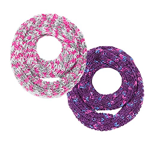 Peach Couture Multi Color Hand Knit Thick Chunky Infinity loop Scarves for extreme warmth Grey Purple