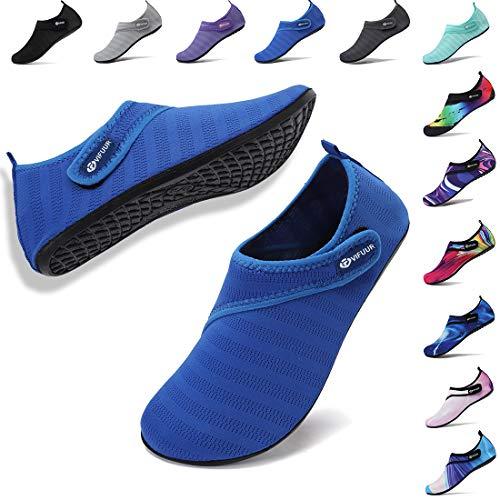 VIFUUR Mens Womens Water Socks Quick Dry Barefoot Beach Pool Swim Diving Surf Aqua Shoes Blue Strap 40/41 (Best Swimming Pool Shoes)