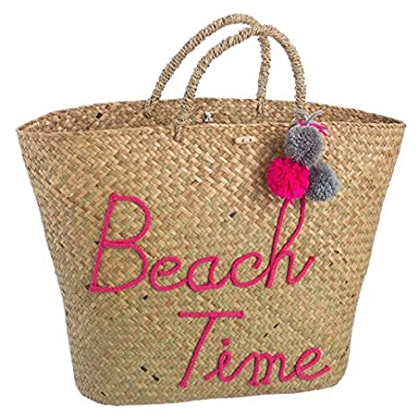 D,casa - Capazo de Rafia Natural para Playa Rosa Vintage France: Amazon.es: Hogar