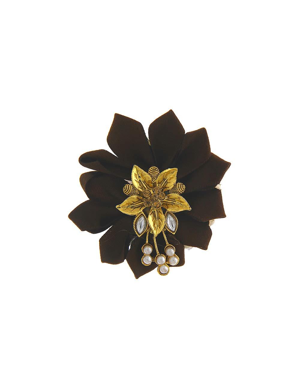 Anuradha Art Brown Colour Styled with Flower Wonderful Designer Sari/Saree Pin for Women/Girls