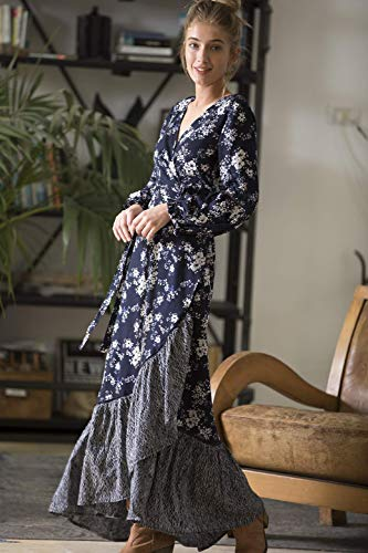 11f8322ac2b84 Wrap Maxi Dress, Hippie Urban Evening & Day Spring Dress, Dark Blue Boho  Romantic Floral Frill Cotton Penelope Dress