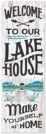 Home Decorations Sign Welcome to Our Lake House Rustic White Wall Plaque Hanging Door Sign