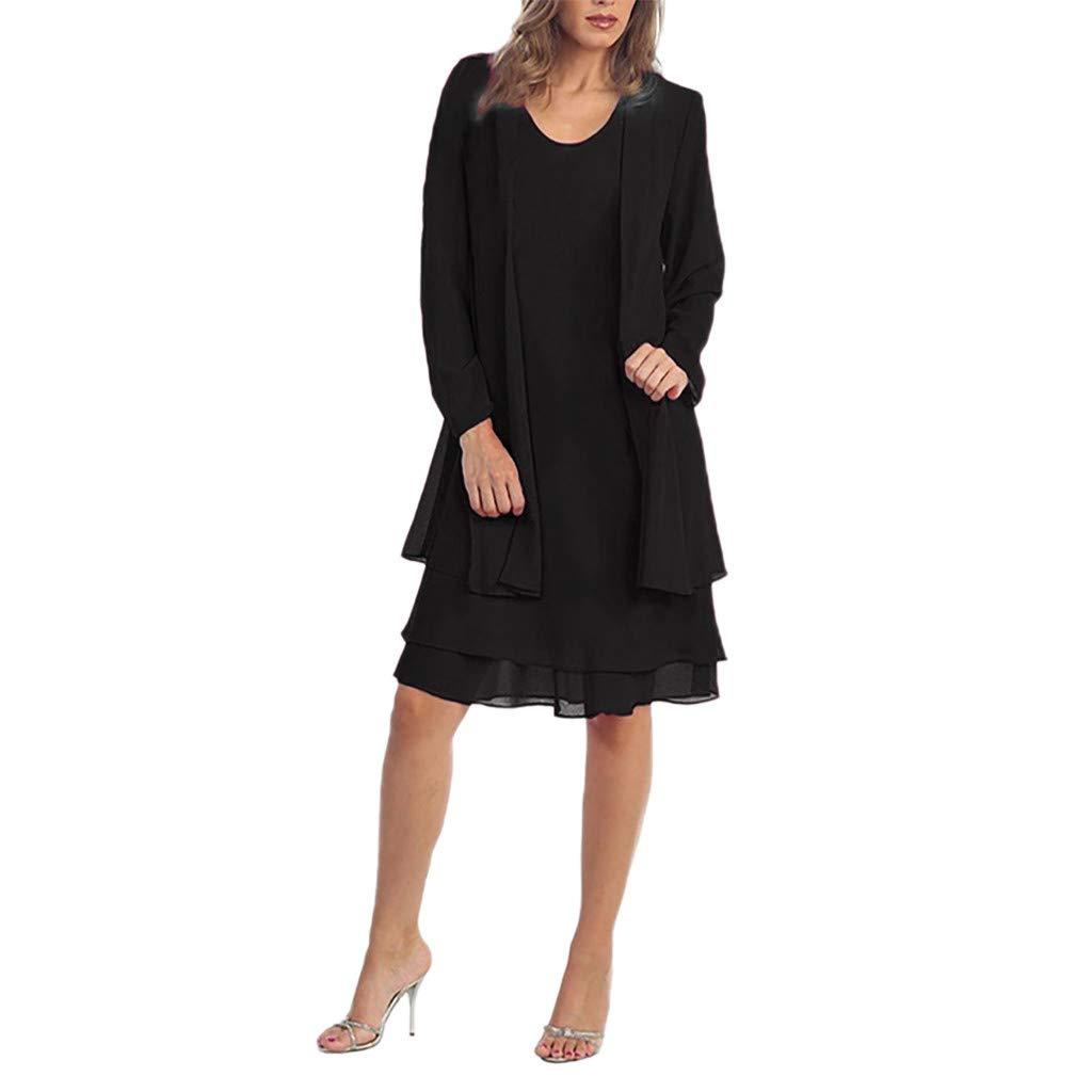 con Paneles de Gasa Vestidos de Oficina Faldas Abrigos Mujer Blazer Vestido de Fiestas Vestidos Conjuntos ღSUNNSEANღ Chaqueta con Vestidos Elegante Color Liso Casual Vestido de 2 Piezas Manga Larga