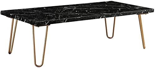 Acme Telestis 48 Marble Top Coffee Table in Black and Gold