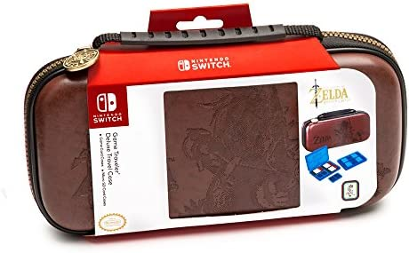 Nintendo Switch Zelda Breath of The Wild Carrying Case - Protective Deluxe Travel Case - Koskin Leather with Embossed Zelda Breath of The Wild Art - Official Nintendo Licensed Product