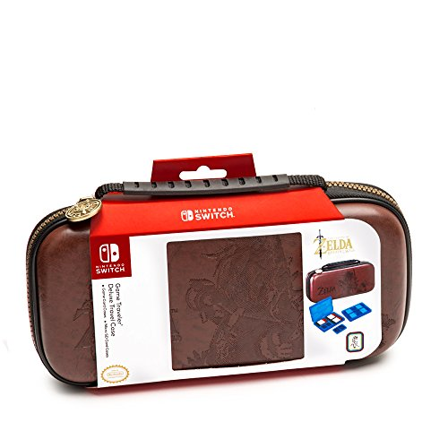 Leather Travel Travel Case - Deluxe Zelda Link Travel Case, Premium Hard Case Made With Koskin Saddle Leather Embossed With Zelda Breath Of The Wild Art, 2 Game Cases, Brown - Nintendo Switch