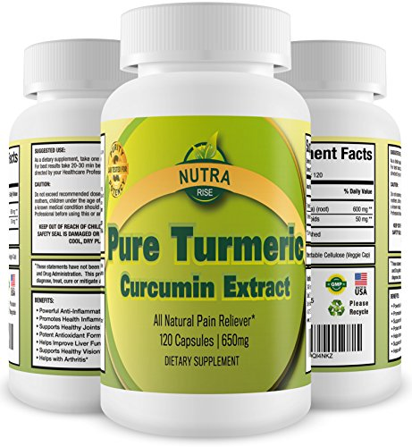 Pure Turmeric Curcumin Extract Dietary Supplement That Contains 50mg Curcuminoids Per 650mg Capsule - To Be Used As an Anti-inflammatory and Antioxidant - 120 Capsules